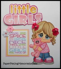 Premade-Paper-Pieced-Little-Girls-Set-for-Scrapbook-Pages-by-Babs