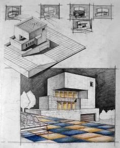 Modernist House Next to Slope. Always use both the axo and perspective as form generators for your final design. Pencil + Colored Crayons on Standard Paper, 5 Hours Completion Time by lenora Architecture Design, Architecture Sketchbook, Concept Architecture, Plan Autocad, 3d Modelle, Renzo Piano, Building Art, House Drawing, Perspective