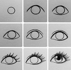 New drawing sketches easy eye tutorial Ideas Easy Drawing Tutorial, Eye Drawing Tutorials, Drawing Techniques, Drawing Ideas, Drawing Tips, Eye Tutorial, Drawing Art, Ball Drawing, Drawing An Eye