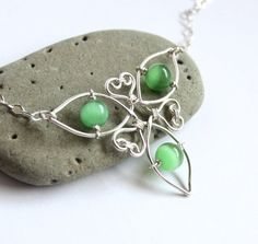 Celtic Knot Triquetra Necklace - Silver Wire Wrapped and Green Cat's Eye - Irish Spring Jewelry