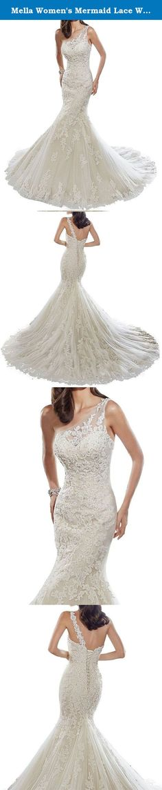 Mella Women's Mermaid Lace Wedding Dresses for Bride 2017 One Shoulder Wedding Dresses White-Custom Size. Mella Women's Mermaid Lace Wedding Dresses for Bride 2017 One Shoulder Wedding Dresses White-Custom Size FREE SUPER GIFT: 30$ worth of long tulle bridal veils with lace appliques, up to 9 ft (approximately 3m), Same Lace pattern as that of the wedding dress shown in picture. Perfect match for the brides. Standard Size Option: Choose the size from the dropdown menu according to our…