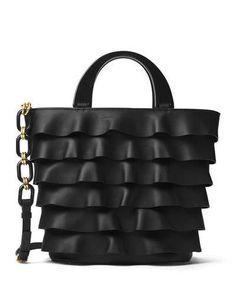 L68FM Michael Kors Stanwyck Ruffled Leather Tote Bag, Black