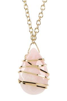 Hand Carved Rose Quartz Eye Necklace by Sapanyu on @HauteLook