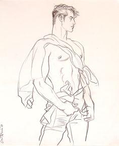 Men's Fashion Illustration by Puerto Rican fashion artist, Antonio Lopez