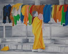 Het schilderij is gemaakt na een vakantie in India. Ik heb daar een foto gemaakt van een vrouw die de was ophing. De kleuren van de kleding zijn zo mooi van kleur, dat ik daar een schilderij van gemaakt heb. De omgeving is zwart-wit en de kleding juist gekleurd.  Het formaat van dit schilderij is 40x30 cm en is nog te koop.
