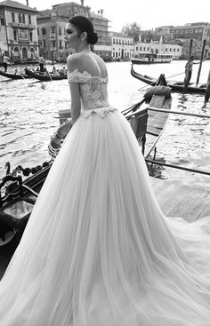 Beautiful off the shoulder Inbal Dror ballgown wedding dress | Bridal Musings Wedding Blog