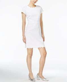 Pair Maison Jules' scalloped-edge dress with a blazer for a smart office or off-day look.   Polyester/rayon/spandex   Machine washable   Imported   Hidden zipper closure at back   Above the knee lengt