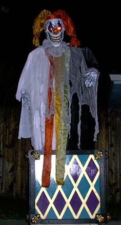 Jack in the Box.  (Instructions) Static prop made with a hanging clown, pvc, & a decorated box.