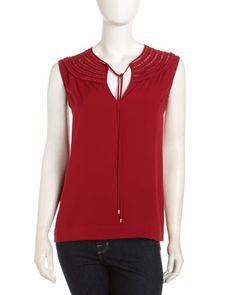 Marlian Tie-Neck Top, Crimson by Diane von Furstenberg at Last Call by Neiman Marcus.
