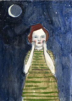 she whispered her secrets to the moon - open edition print of original acrylic painting