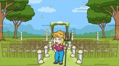A Yokel Farmer At An Outdoor Wedding Ceremony Venue:   A woman with pigtailed and braided blonde hair cheek freckles wearing a yellow orange straw hat plaid pink collared shirt rope belt and blue pants black shoes opens her mouth to smile showing her unruly set of teeth left hand holding a gray pitchfork as right hand is placed on her hip. Set in an outdoor wedding ceremony set in the greens with trees fancy gold wedding chairs with gray cushion flowers with white stands aligned on the sides…