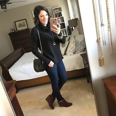 Fashion Over 40 | What I Wore | Black Chunky Turtleneck, Dark Jeans, Beet Red Booties