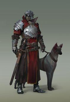 m Half Drow Elf Fighter LE Hvy Armor Helm Sword War Dog urban City undercity Royal City Patrol lg Fantasy Male, Fantasy Warrior, Fantasy Rpg, Medieval Fantasy, Dark Fantasy, Face Characters, Fantasy Characters, Fantasy Inspiration, Character Inspiration
