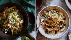 Penne with peas and ricotta (left) and spaghetti with pancetta, chilli and herbs. Pictures: Guy Bailey #pasta