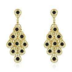 Onyx Filigree Chandelier Earrings