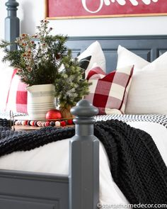 Create a Christmas master bedroom that compliments your existing room decor. Decorating is all in the little details and accents!