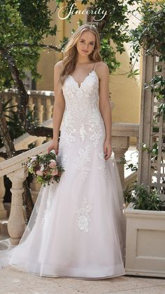 8c4e47bbc3e Style 44091  A-Line Dress with Beaded Lace Appliques and Chapel Train  Sweetheart Gowns
