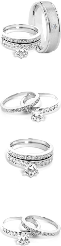 CZ Moissanite and Simulated 97681: 3 Pieces Mens Titanium Band And Womens Sterling Silver Engagement Wedding Ring Set -> BUY IT NOW ONLY: $42.45 on eBay!
