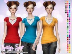 The Sims Resource: Nostalgia Shirt – Plain version by Aveira • Sims 4 Downloads