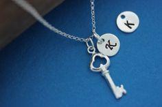 Key Necklace Steling Silver Tiny Key Necklace l Mother by MonyArt, $23.80