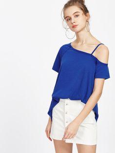 Asymétrique épaule shirt - bleu
