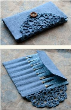 I like the idea of using lace and a button to hold it closed.