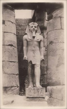 The Vintage Egyptian Postcards of 1930s. Egyptian Luxor Temple Sculpture of Pharaoh Ramesses II Ancient Egyptology.