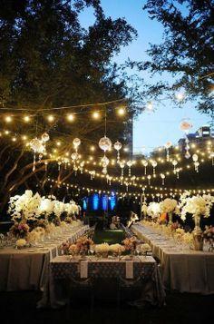 wedding reception decorations, hanging lights, wedding receptions, string lights, lighting ideas, outdoor parties, outdoor weddings, outdoor receptions, long tabl