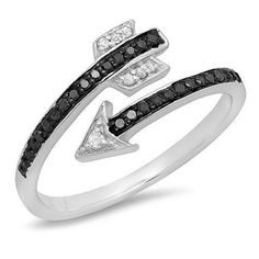0.15 Carat (ctw) Sterling Silver Black & White Diamond Bridal Vintage Right Hand Arrow Ring (Size 7)by DazzlingRock Collection