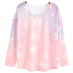 Women's Loose Batwing Sleeve Pastel Tops Tees Pink Star Print (Size M) ($23) ❤ liked on Polyvore featuring tops, t-shirts, loose fitting tops, pink tee, pastel pink t shirt, knit top and loose fit tees