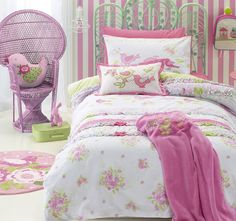 Shabby Chic Quilt Cover Set available in single, double and queen bed sizes features a beautiful bird and floral design from Kids Bedding Dreams Shabby Chic Quilt Covers, Shabby Chic Quilts, Chic Bedding, Duvet Bedding, Baby Bedding, Bedspread, Best Bedding Sets, Duvet Sets, Kids Single Beds