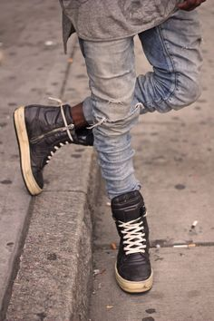 Tapered stone-wash and hi-tops. Are you with me on this one.