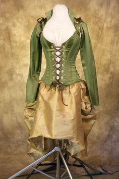 Green and Gold Victorian Bustle Gown by damselinthisdress on Etsy