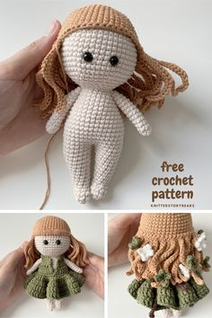 Knitted Dolls Free, Doll Amigurumi Free Pattern, Crochet Amigurumi Free Patterns, Amigurumi Doll, Angel Crochet Pattern Free, Knitting Dolls Free Patterns, Pattern Cute, Little Doll, Cute Crochet