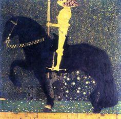 Reproduction de klimt, La vie d'une lutte (Les chevaliers dorés). Tableau peint à la main dans nos ateliers. Peinture à l'huile sur toile.