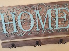 """Rustic Chic """"HOME"""" Entry Wall Hanging! Entry Key Hooks, Farmhouse Decor, Reclaimed Wood, key organizer, home, unique by KimberlyDesign4you on Etsy"""