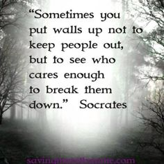 Too true .... Only until someone special to you comes alone can you begin to let those walls down
