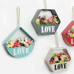 Love Iron Wall Hanging Ornaments Plant Flower Pot Box Basket Home Balcony Decor Indoor Flower Pots, Hanging Flower Baskets, Hanging Pots, Flower Box Gift, Flower Boxes, Small Balcony Decor, Plant Wall, Baskets On Wall, Home Wall Decor