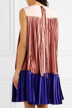 Roksanda - Malene Color-block Pleated Satin-twill And Crepe De Chine Mini Dress - Antique rose - UK14