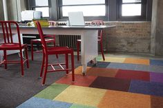FLOR / House Pet - Multiple Colors / Blue Star Properties / Chicago, IL / Create a world full of color  in an office full of House Pet carpet squares.