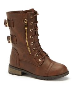 Look at this #zulilyfind! Carrie Brown Buckle Cowboy Combat Boot by Carrie #zulilyfinds