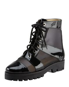 Spring 2013: Mesh & Patent Combat Boot, Black by Walter Steiger at Bergdorf Goodman.