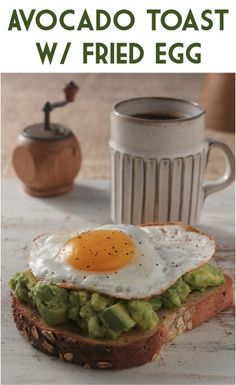 Avocado Toast with Fried Egg! ~ at TheFrugalG {add a yummy twist to your breakfast routine! Healthy Desayunos, Healthy Snacks, Healthy Recipes, Yummy Recipes, Breakfast Time, Breakfast Recipes, Breakfast Healthy, Health Breakfast, Breakfast Ideas