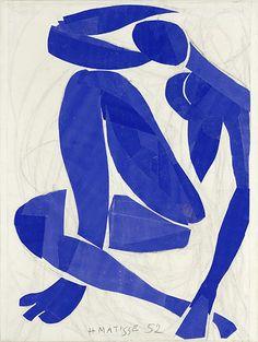 Henri Matisse, Nu bleu IV , 1952. Papiers gouachés, découpés, collés sur papier. 103 x 74 cm, Musée Matisse, Nice. © Succession Henri Matisse / Musée Matisse Nice / Photo : François Fernandez.