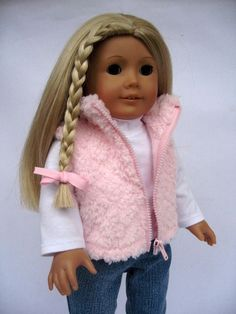 "Cute American Girl 18"" Doll outfit with a fur vest and boots."