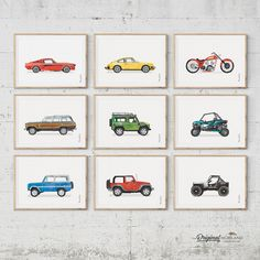Classic Vehicles - Printable Set of 9 - Toddler Boy Room Decor, Boys Room Decor, Baby Boy Rooms, Toddler Boys, Baby Boys, Kids Rooms, Car Nursery, Car Bedroom, Nursery Art
