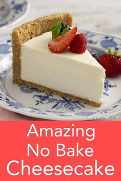 This delicious no bake cheesecake from Preppy Kitchen is light, creamy and beyond easy to make. You'll like the perfectly sweet filling with a touch of tang and the fragrant crust packed with toasted pecans. recipes no bake The BEST No Bake Cheesecake Best No Bake Cheesecake, Baked Cheesecake Recipe, Cheesecake Bites, Classic Cheesecake, Raspberry Cheesecake, Cheesecake Desserts, No Bale Cheesecake, Best Homemade Cheesecake Recipe, Light Cheesecake