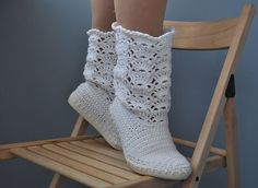 Wedding Crochet Boots White Lace Boots Made to Order Bride Boots Cotton Candy