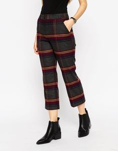 ASOS Premium Slim Midi Trouser in Check a14f76d6080b8