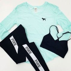 Mint vs pink tee Brand new condition size small vs pink tee. There may be extremely light pilling if any but other than that perfect condition. Just the top is for sell. Cover photo is for style inspiration PINK Victoria's Secret Tops Tees - Long Sleeve